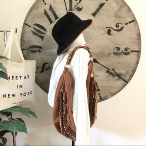 Big Buddha Boho faux suede purse Fringe. Zip close